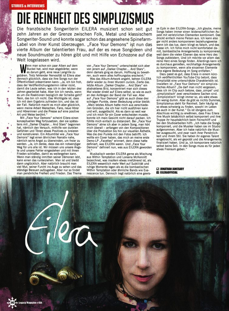Eilera Face Your Demons Legacy interview