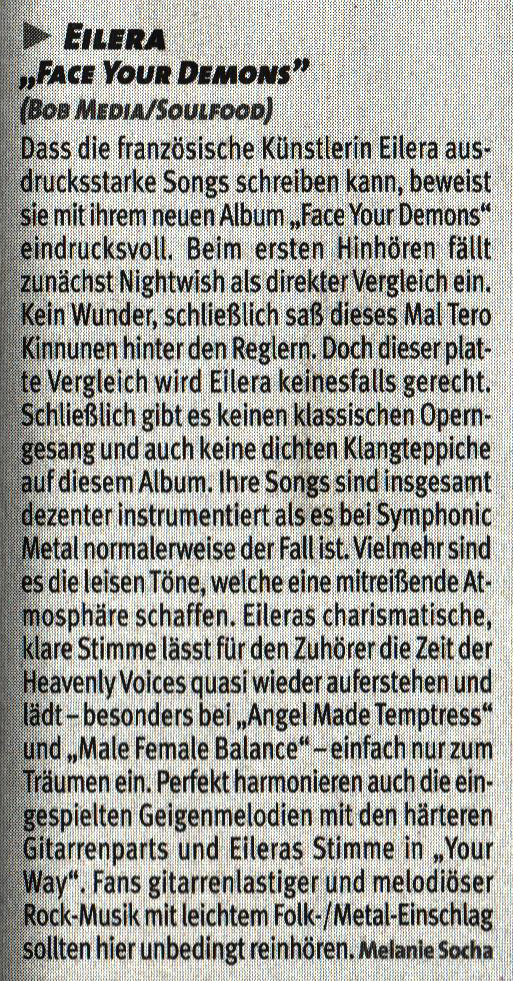 Eilera Face Your Demons Sonic Seducer review